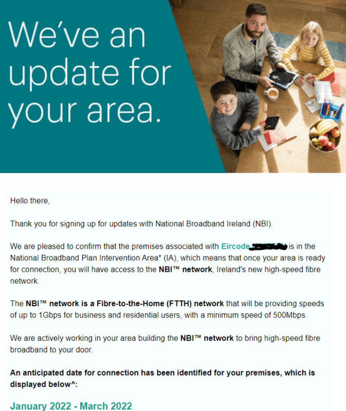 Fibre Broadband by March 2022