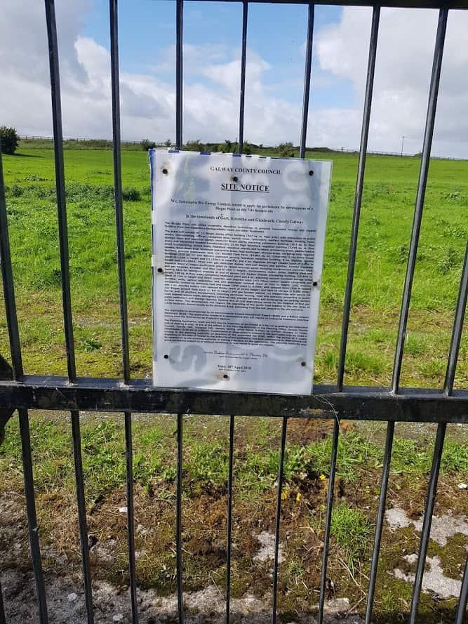 Image of Site Notice Gort Bio Gas Plant