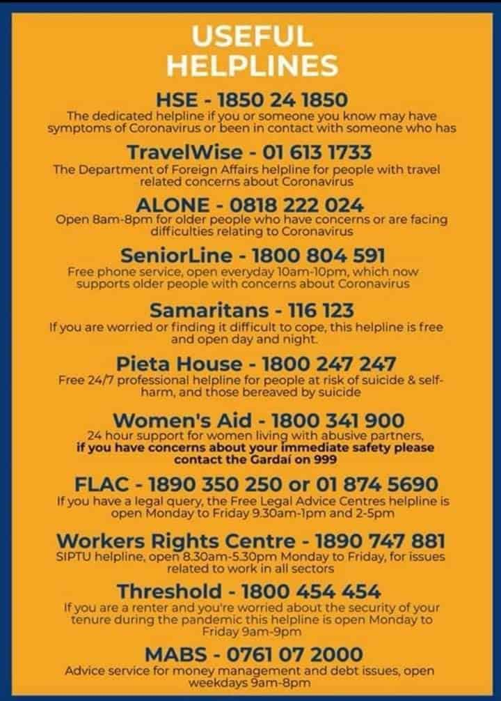 telephone lines to contact if you are affected by Coronavirus