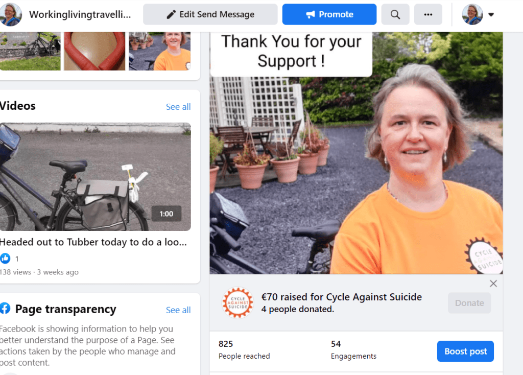 Facebook page Fundraiser Cycle Against Suicide